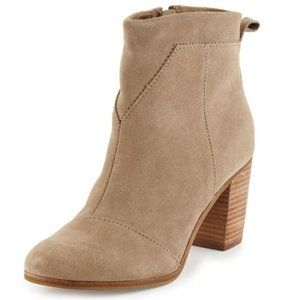 TOMS Lunata Suede Ankle Booties Side Zipper